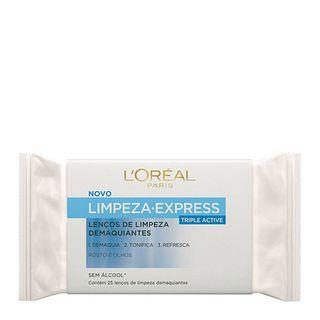 Lenços Demaquilantes Triple Active Limpeza Express L ´ Oréal Paris 1x 25 Unidades - COD. 025183