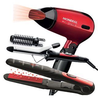 Conjunto Especial Super Bonita Mondial - Prancha + Escova Modeladora + Secador KT53 - Bivolt - COD. 035847