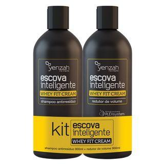( PRÉ - VENDA ) Kit Escova Inteligente Whey Fit Cream Yenzah - Shampoo Antirresíduo + Redutor de Volume 1,8L - COD. 036443