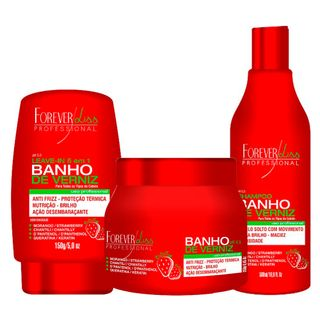 Forever Liss Banho de Verniz Morango Kit - Shampoo + Máscara de Hidratação + Leave - in 20170417 16083