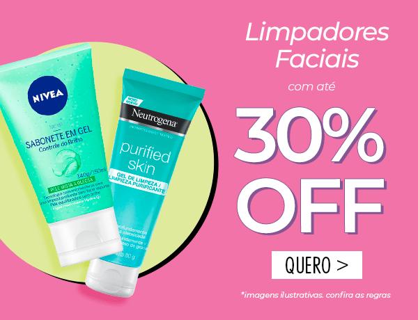 Limpadores faciais até 30% OFF