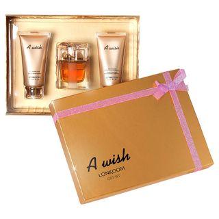A Wish Eau de Parfum Lonkoom - Kit Perfume Feminino 100ml + Sabonete Esfoliante 90ml + Loção Hidratante Corporal 90ml Kit - COD. 030309