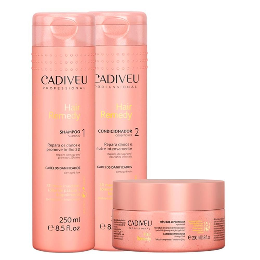 Kit Shampoo + Condicionador + Máscara Capilar Cadiveu Hair Remedy Cuidados Diários