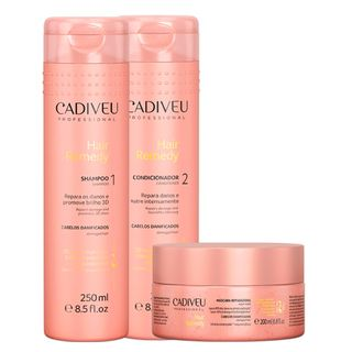Hair Remedy Cuidados Diários Cadiveu - Kit Shampoo 250ml + Condicionador 250ml + Máscara Reparadora 200ml Kit - COD. 030991