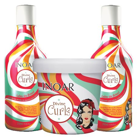 Kit Shampoo Low Poo + Condicionador + Máscara Inoar Divine Curls - Kit