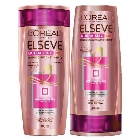 Kit Shampoo + Condicionador L'Oréal Paris Elseve Quera-Liso 230°C - Kit