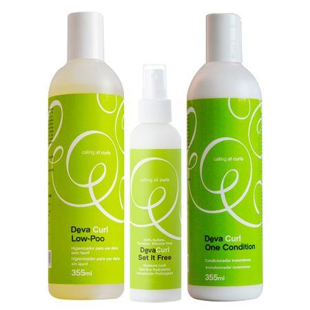 Deva Curl Set It Free Kit - Low Poo + Condicionador + Anti-Frizz - Kit