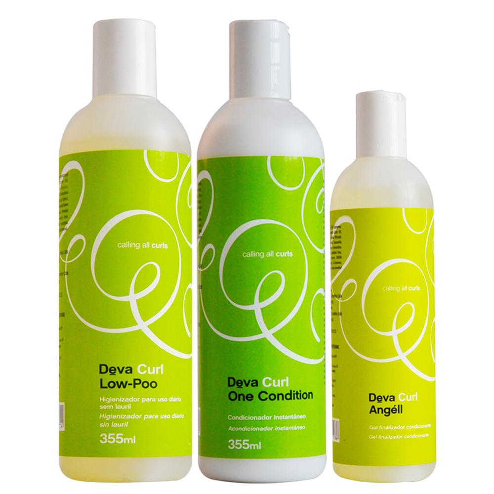 Deva Curl Angel Kit - Low Poo + Condicionador + Anti-Frizz