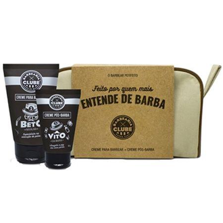 Kit Barbearia Clube Dia dos Pais - Necessaire + Creme Pré-Barbear + Creme...