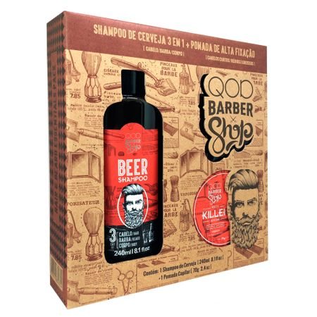 Barber Shop Kit - Pomada Killer + Shampoo Beer - Kit
