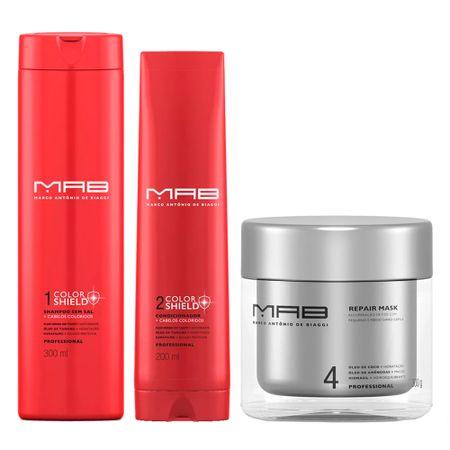 MAB Color Shield Reparação Kit - Shampoo + Condicionador + Máscara Capilar - Kit