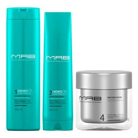 MAB Hidro Control Reparação Kit - Shampoo + Condicionador + Máscara Capilar -...