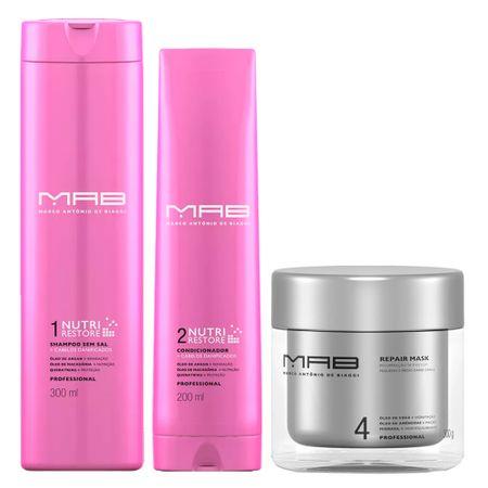 MAB Nutri Restore Reparação Kit - Shampoo + Condicionador + Máscara Capilar -...