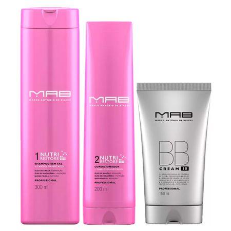 MAB Nutri Restore + BB Cream Kit - Shampoo + Condicionador + Leave-in BB Cream...