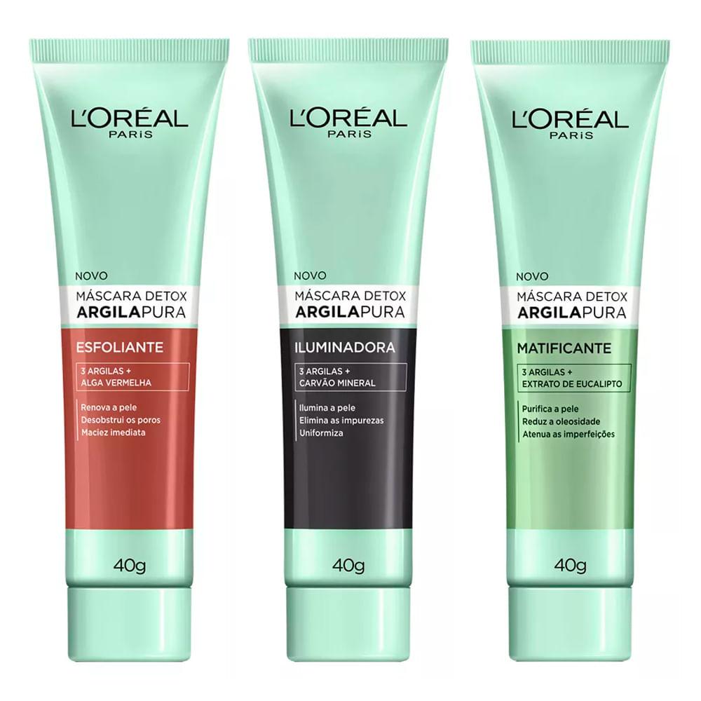 L'Oréal Paris Argila Pura Máscara Detox Kit - Esfoliante + Matificante + Iluminadora Kit