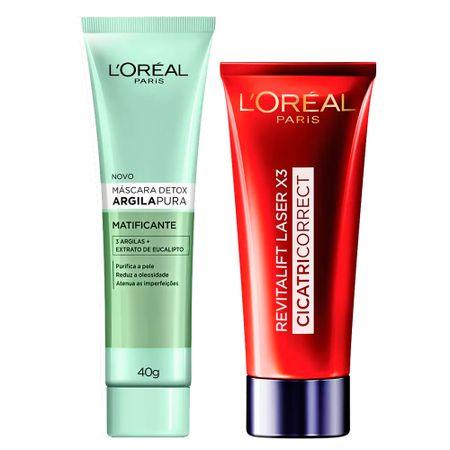 L'Oréal Paris Kit - Cicatri-Correct + Detox Argila Pura Matificante - Kit