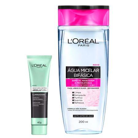 L'Oréal Paris Kit - Água Micelar 5 em 1 + Detox Argila Pura Iluminadora - Kit