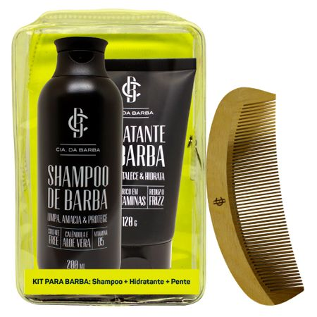 Cia. da Barba Seleção Barba Hidratada Kit - Shampoo + Hidratante + Pente - Kit