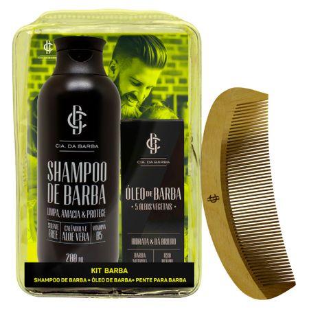 Cia. da Barba Seleção Barba Macia Kit - Shampoo + Óleo + Pente - Kit