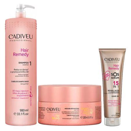 Cadiveu Hair Remedy Kit - Shampoo + Leave-In + Máscara - Kit