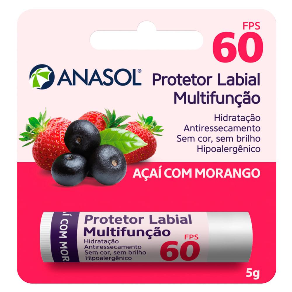 Protetor Hidratante Labial Açaí Com Morango FPS60 Anasol