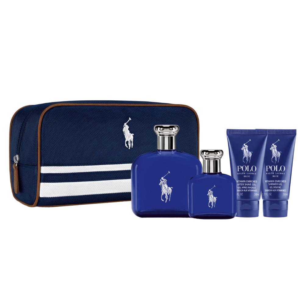 06b0e73be492c Kit Ralph Lauren Polo Blue - Perfumes + Pós-Barba + Gel de Banho ...