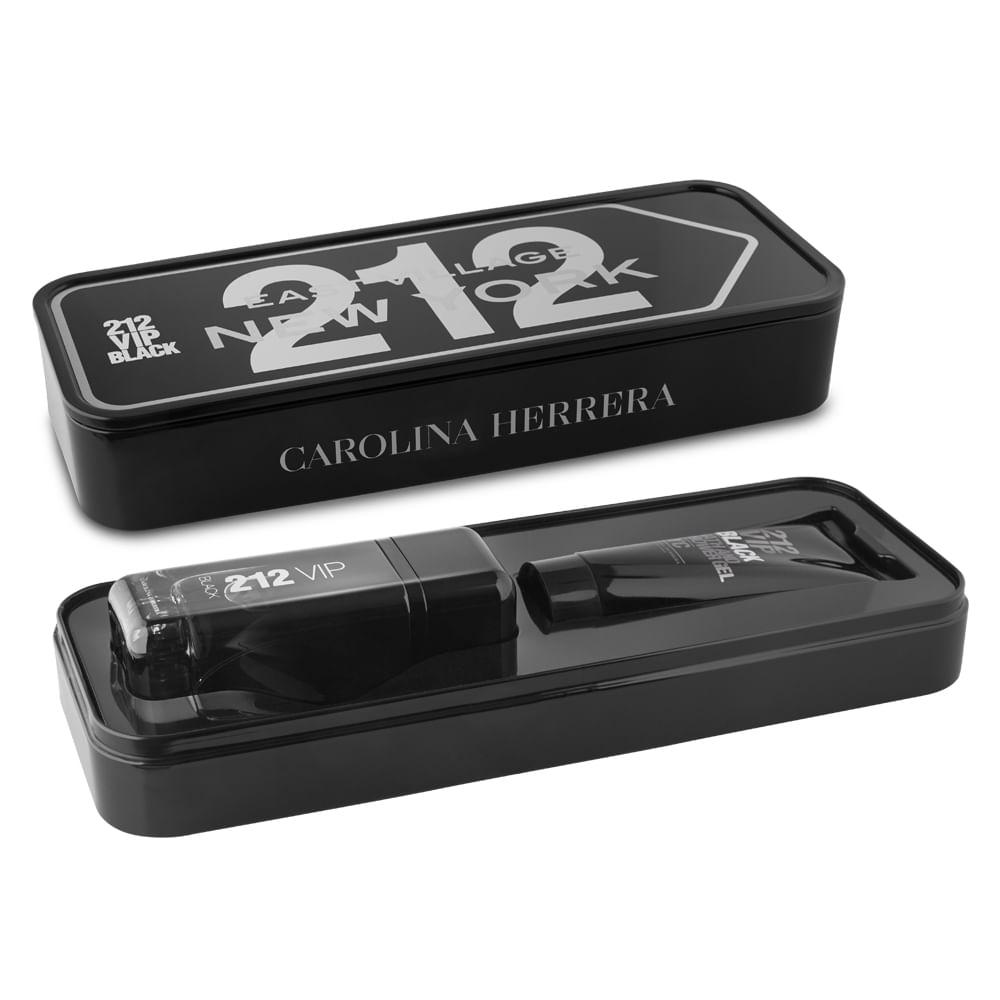 13d5efd217259 Kit Carolina Herrera 212 Vip Black - EDP 100ml + Gel De Banho ...