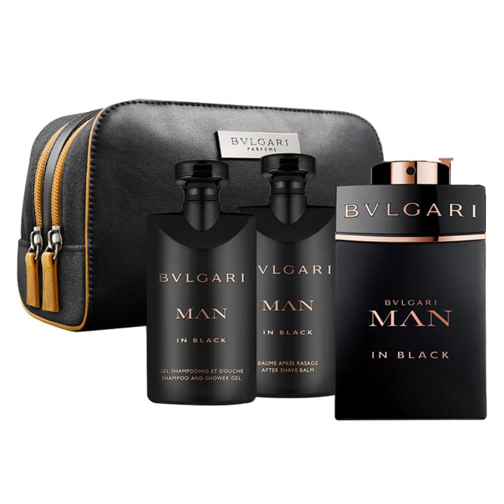 a03753f716979 Kit BVLGARI Man in Black - EDT + Shower Gel + After Shave + Necessaire -  Época Cosméticos