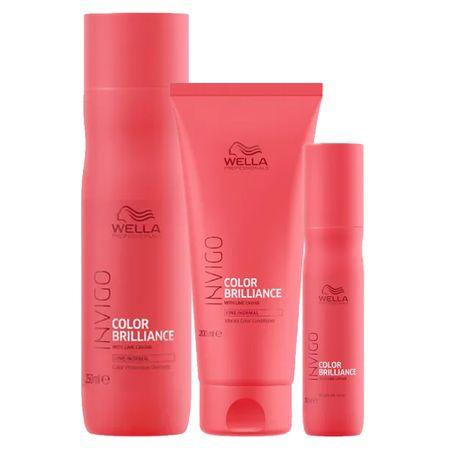 Kit Invigo Color Brilliance Wella - Shampoo + Condicionador + Leave-in - Kit