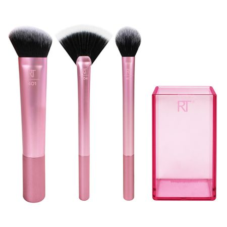 Real Techniques Sculpting Set Kit - 3 Pincéis para Acabamento + Brush Cup - Kit