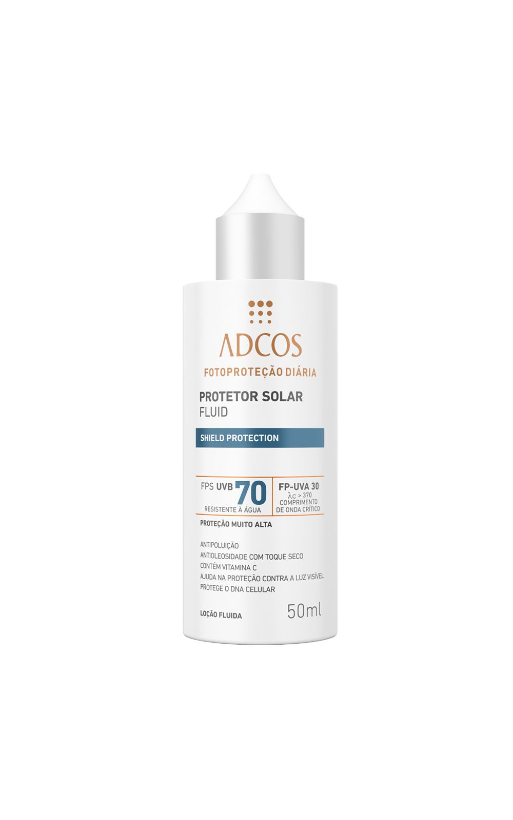 Foto 1 - Protetor Solar Shield Protection FPS 70 Fluid Incolor Adcos - 50ml