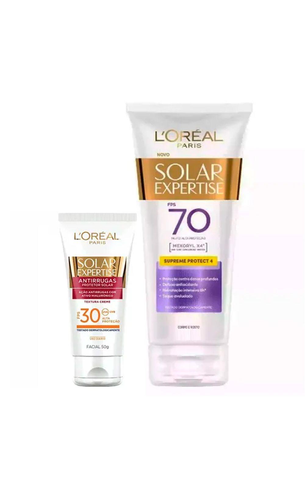 Foto 1 - L'Oréal Paris Solar Expertise Ganhe Solar Expertise Facial Antirrugas Kit - Protetor Solar Corporal + Protetor Solar Facial - Kit