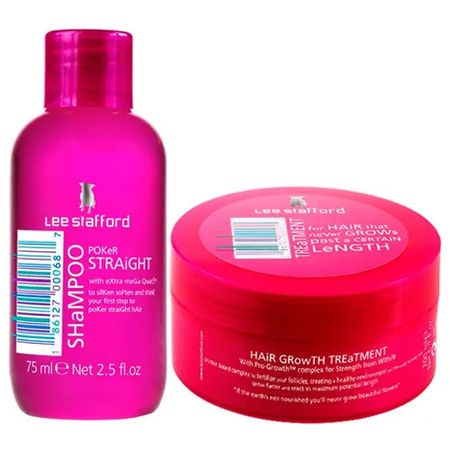 Kit Shampoo+ Máscara Lee Stafford Poker Straight + Hair Growth Treatment -...