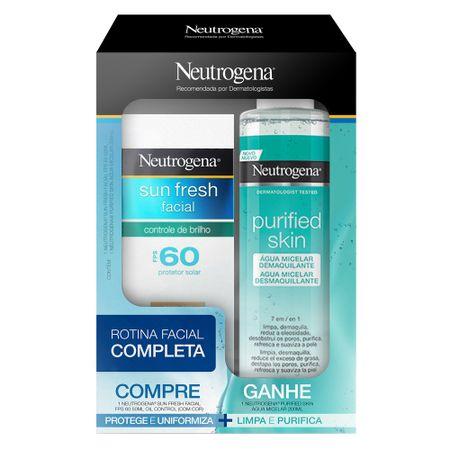 Neutrogena Sun Fresh Facial Kit - Protetor Solar FPS60 com Cor  + Água Micelar...