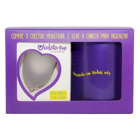 Kit Violeta Cup - Coletor Tipo B Transparente + Caneca Higienizador - Kit