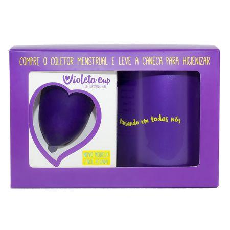 Kit Violeta Cup - Coletor Tipo B Violeta + Caneca Higienizador - Kit