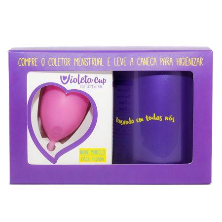 Kit Violeta Cup - Coletor Tipo B Rosa + Caneca Higienizador - Kit