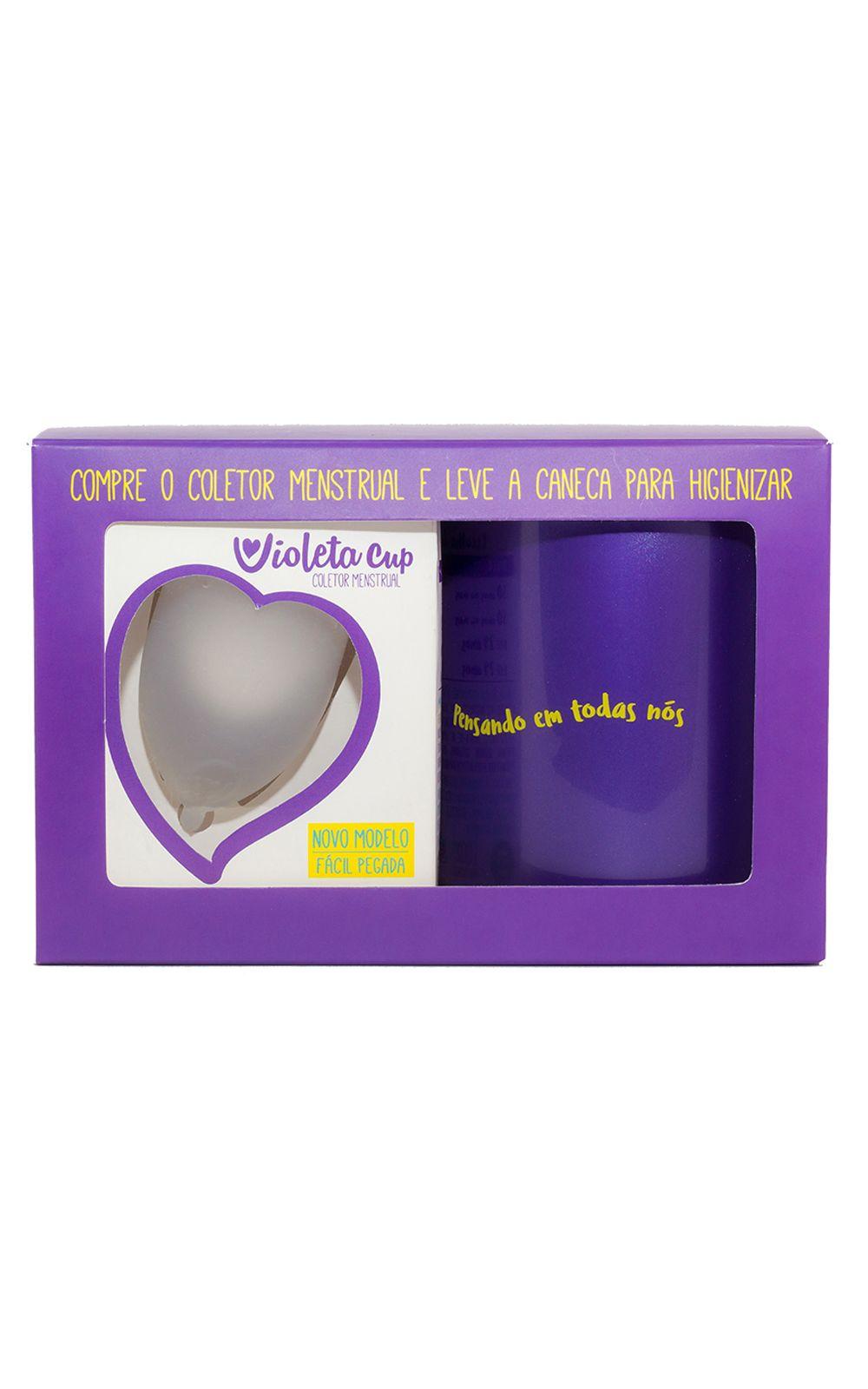 Foto 1 - Kit Violeta Cup - Coletor Tipo A Transparente + Caneca Higienizador - nenhuma