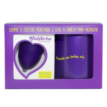 Kit Violeta Cup - Coletor Tipo A Violeta + Caneca Higienizador - Kit