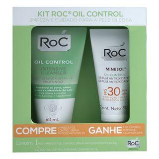Kit-Roc---Oil-Control-Antioxidante-Serum-FPS30---Oil-Control-Intensive-Cleanser