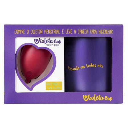 Kit Violeta Cup - Coletor Tipo A Vermelho + Caneca Higienizador - Kit