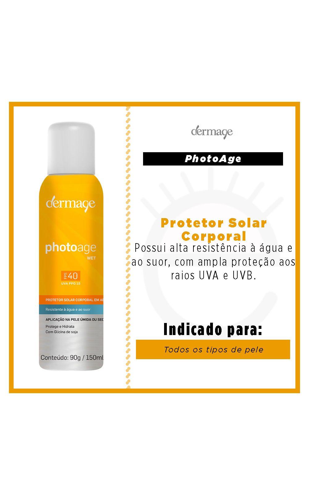 Foto 2 - Protetor Solar Aerossol Dermage - Photoage Wet FPS 40 - 120g