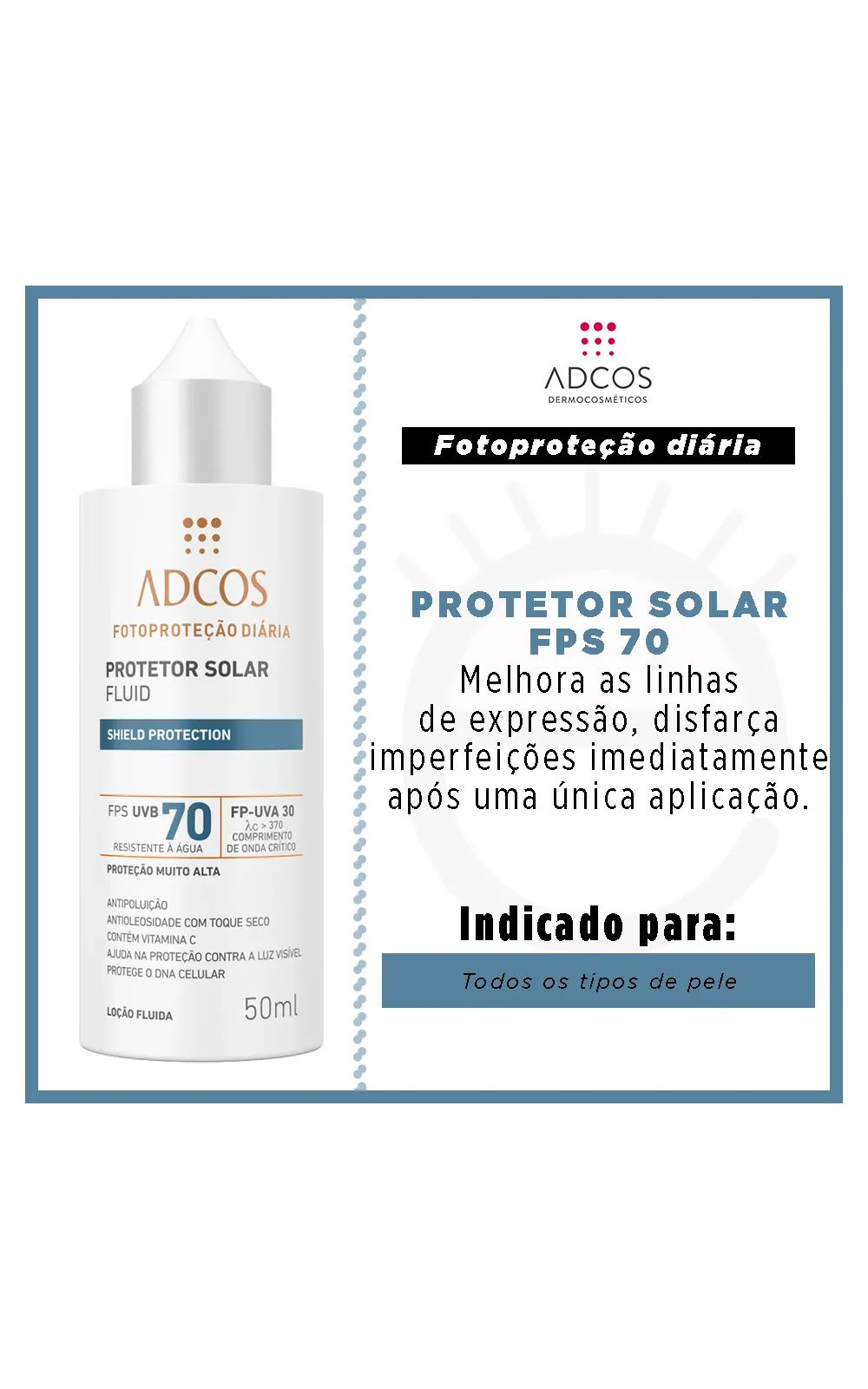 Foto 2 - Protetor Solar Shield Protection FPS 70 Fluid Incolor Adcos - 50ml