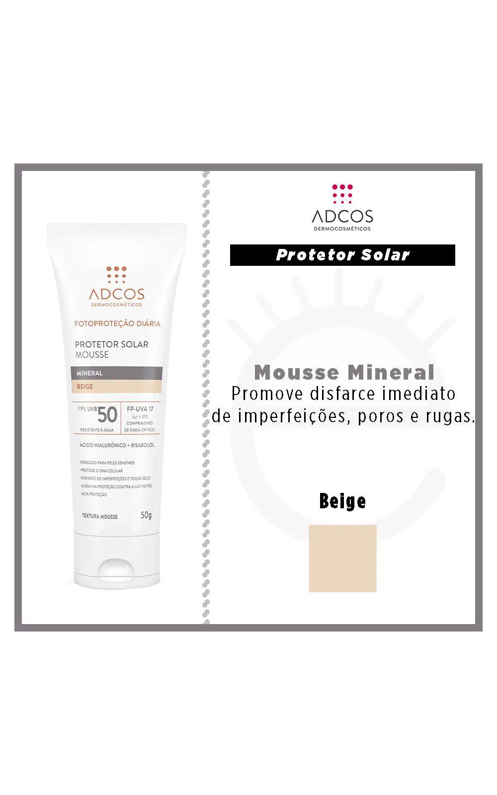 Foto 4 - Protetor Solar ADCOS - Fotoproteção Mousse Mineral Beige - Beige