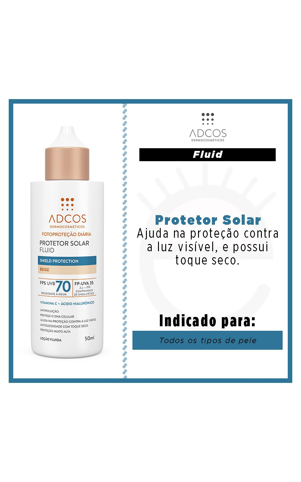 Foto 2 - Protetor Solar Adcos Fluid Shield Protection - Beige