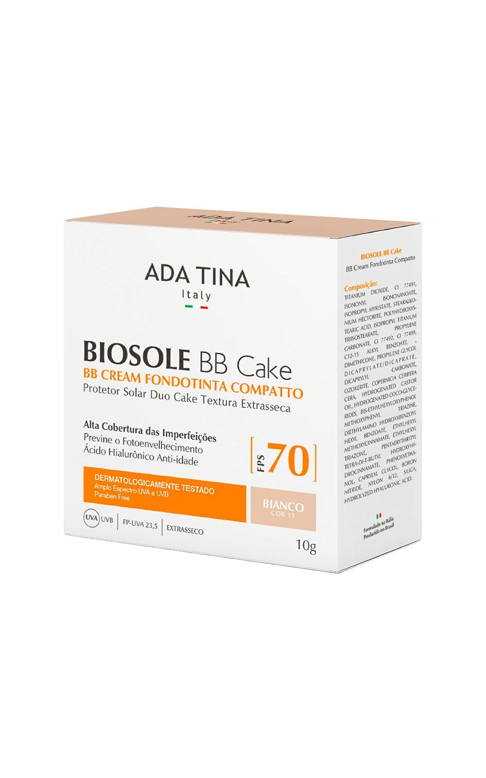 Foto 4 - Protetor Solar Anti Idade Adatina - Biosole Bb Cake FPS 70 - Bianco Cor 15