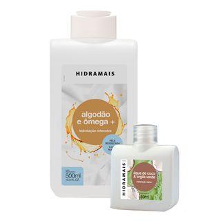 Hidramais-Locao-Hidratante-Kit-–-1-Locao-Hidratante-Algodao-e-Omega-500-ml---1-Locao-Hidratante-Agua-de-Coco-e-Argila-Verde-40ml-