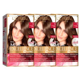 loreal-paris-coloracao-imedia-excellence-5-cast-claro-kit-3-unidades