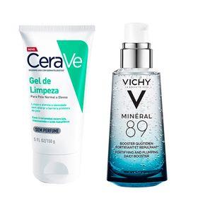 vichy-mineral-89-e-cerave-kit-serum-facial-espuma-de-limpeza