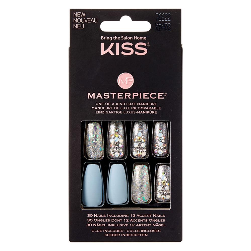 Kiss NY Masterpiece Over the Top Kit - Unhas Postiças + Cola + Mini Lixa + Palito